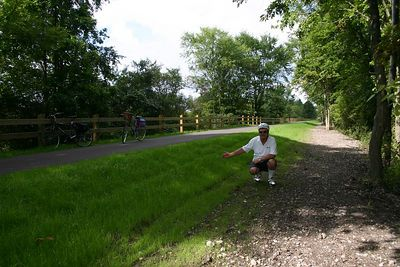 This picture gives a good idea as to how the Trail has been laid on top of the old rail line.  I am jealous at the quality of the grass.  My summer project for 2005 was to improve my lawns at Oakdene and they have not come in nearly as well as the grass laid in the construction of the Trail.