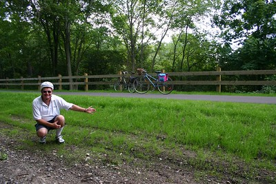 It is a bit unclear as to how it could be considered unsafe.  Francine and I ducked under the fence and could find nothing different from other times we were on the trail.  In fact, one cannot imagine a safer place to bike.  It is built on an abondoned rail line and is perfectly flat and paved with asphalt.  Unbelievably, they are sodding the bank of the old railway line.