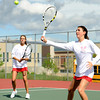 "Fairview High School's Megan Thayer, left, and Paris Hogan during a semi-final doubles match against Poudre High School in the Front Range League Tennis Championships at Fairview High School. For more photos of the matches go to  <a href=""http://www.dailycamera.com"">http://www.dailycamera.com</a><br /> Jeremy Papasso/ Boulder Daily Camera"