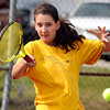 "Boulder High School's Miquela Newhart returns the ball during a semi-final match against Fairview High School's Monica Li in the Front Range League Tennis Championships at Fairview High School. For more photos of the matches go to  <a href=""http://www.dailycamera.com"">http://www.dailycamera.com</a><br /> Jeremy Papasso/ Boulder Daily Camera"