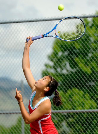 """Fairview High School's Monica Li serves the ball to Boulder High School's Miquela Newhart during a semi-final match in the Front Range League Tennis Championships at Fairview High School. For more photos of the matches go to  <a href=""""http://www.dailycamera.com"""">http://www.dailycamera.com</a><br /> Jeremy Papasso/ Boulder Daily Camera"""