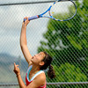 "Fairview High School's Monica Li serves the ball to Boulder High School's Miquela Newhart during a semi-final match in the Front Range League Tennis Championships at Fairview High School. For more photos of the matches go to  <a href=""http://www.dailycamera.com"">http://www.dailycamera.com</a><br /> Jeremy Papasso/ Boulder Daily Camera"