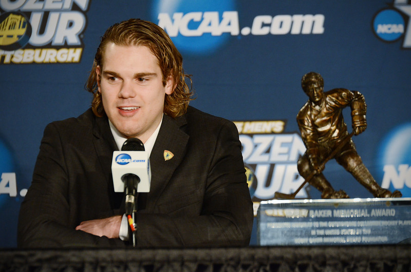 Drew LeBlanc at the Hobey Baker Award press conference.