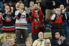 St. Cloud State Huskies and fans cheer for Drew LeBlanc.