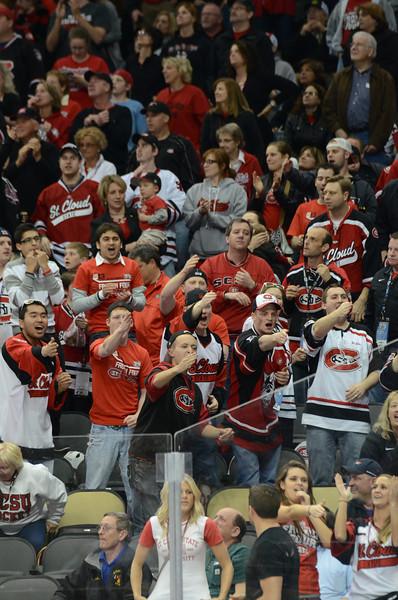 Huskies fans celebrate the goal.
