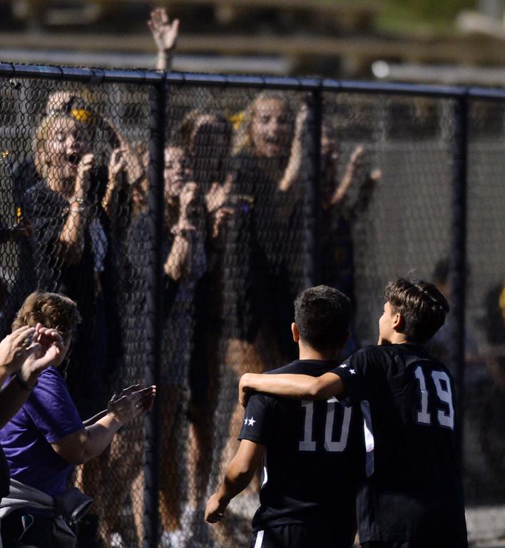 . BOULDER, CO - SEPTEMBER 13:  Boulder fans celebrate after the goal by Omar Castruita (10). Boulder High played Ft Collins High at Recht Field on Thursday. (Photo by Cliff Grassmick/Staff Photographer)