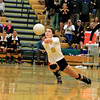 Record-Eagle/Jan-Michael Stump<br /> Traverse City Central's Leah Potter (8) bumps the ball in the third game of Wednesday's loss at Traverse City West.