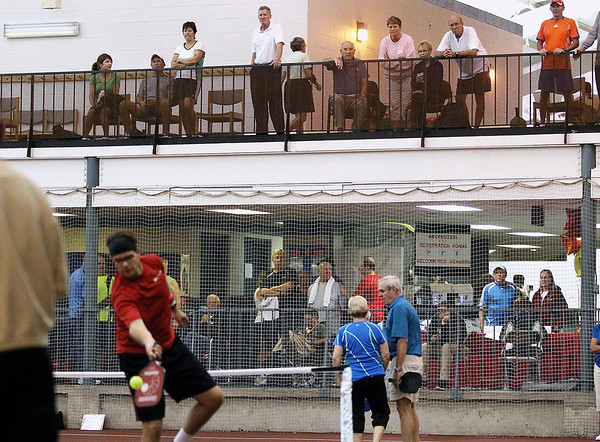 Record-Eagle/Keith King<br /> Spectators look on Friday, September 21, 2012 during the Great Lakes Open Pickleball Tournament at the Grand Traverse Bay YMCA in Traverse City.