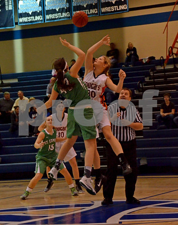 -Messenger photo by Britt Kudla<br /> Alli Huss of St. Edmond and Manson NW Webster fight for the tip off during Thurday night game at Iowa Central's Highschool Jamboree