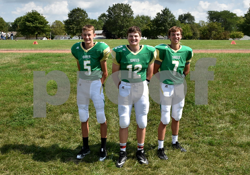 -Messenger photo by Britt Kudal<br /> St. Edmond Quarterbacks are left to right, Devon Wirtz, Andrew Gibb, Elijah Litwiller