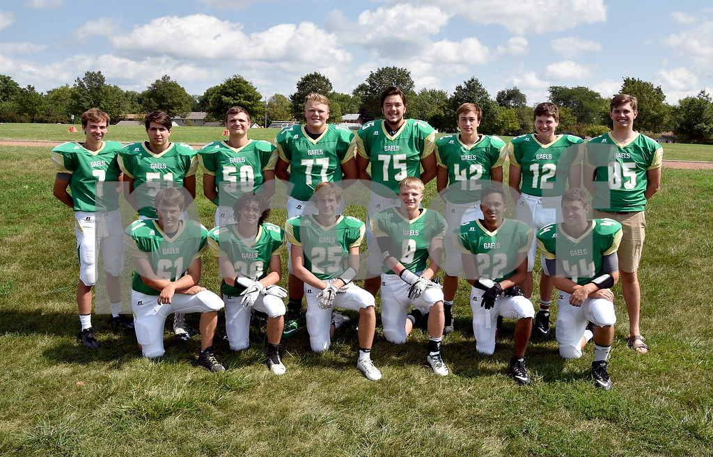 -Messenger photo by Britt Kudla<br /> St. Edmond Football Returning Letterwinners are, left to right, Front Row: Ty Smith, Jake Rossow, Charlie Shelly, Jack Rasmussan, Peyton Spangler, Cade Naughton<br /> Back Row: Elijah litwiller, Mason O'Brien, Sean Newell, Nick Lawler, Sean Flaherty, Jackson Bemrich, Andrew Gibb, Will Woodruff