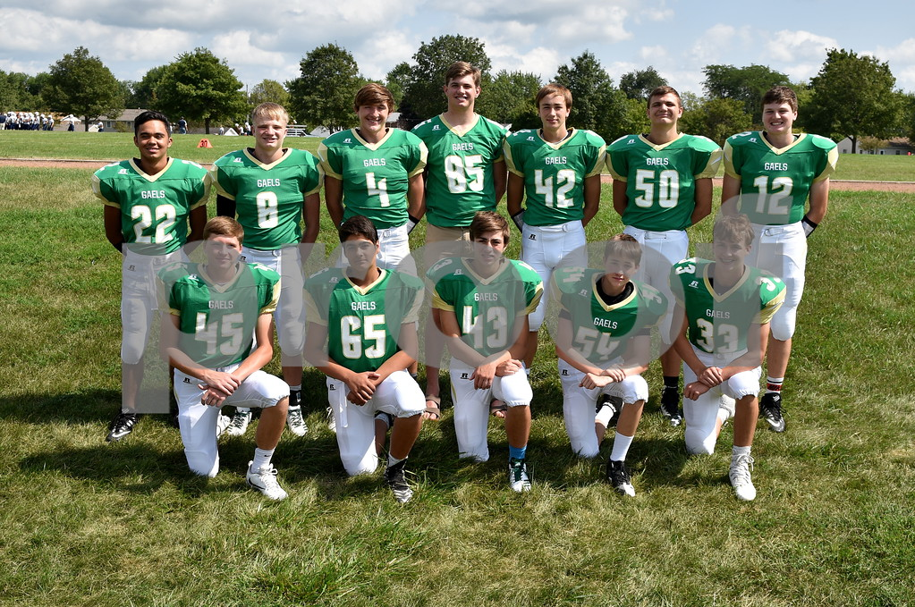 -Messenger photo by Britt Kudla<br /> St. Edmond defensive back are left to right, Front Row: Drew Schaeffer, Rene Cazares, 43, Grant Heldorfer, Sean Flattery<br /> Back Row: Peyton Spangler, Jack Rasmussen, Isaac Lursen, Will Woodruff, Jackson Bemrich, Sean Newell, Andrew Gibb