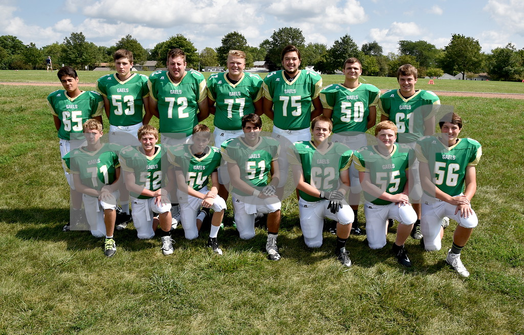 -Messenger photo by Britt Kudla<br /> St. Edmond offensive line are left to right, Front Row: Peyton Scott, Andrew Elbert, Grant Heldorfer, Mason O'Brien, Bryce Anderson, Brenden Loreth, Ethan Lursen<br /> Back Row: Rene Cazares, Brock Stanek, Gage Roleaberg, Nick Lawler, Sean Flaherty, Sean Newell, Ty Smith