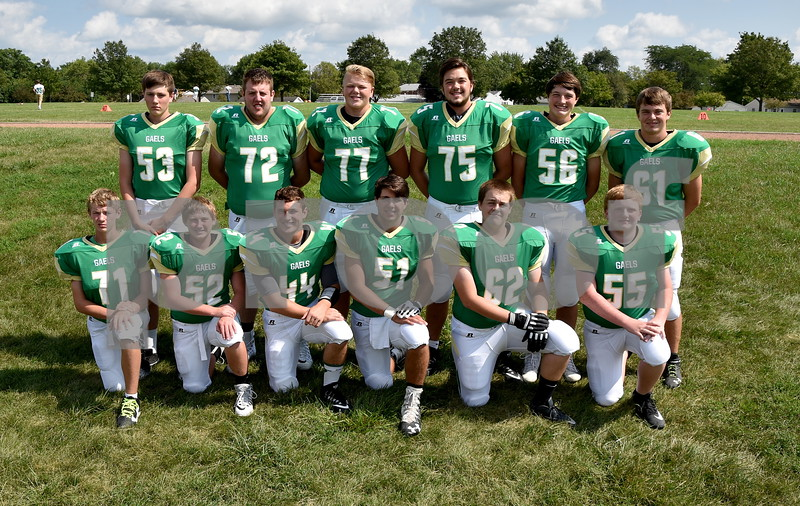 -Messenger photo by Britt Kudla<br /> St. Edmond defensive line are left to right, Front Row: Peyton Scott, Andrew Elbert, Cade Naughton, Mason O'Brien, Bryce Anderson, Brenden Loreth<br /> Back Row: Brock Stanek, Gage Roleaberg, Nick Lawler, Sean Flaherty, Ethan Lursen, Ty Smith