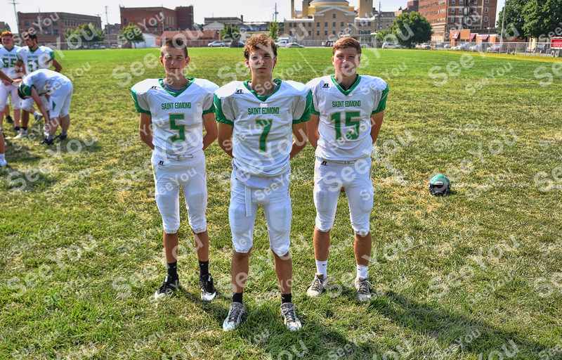 -Messenger photo by Britt Kudla<br /> St. Edmond Quarterbacks are, left to right, Isacc Landwehr, Elijah Litwiller, Drew Schaeffer