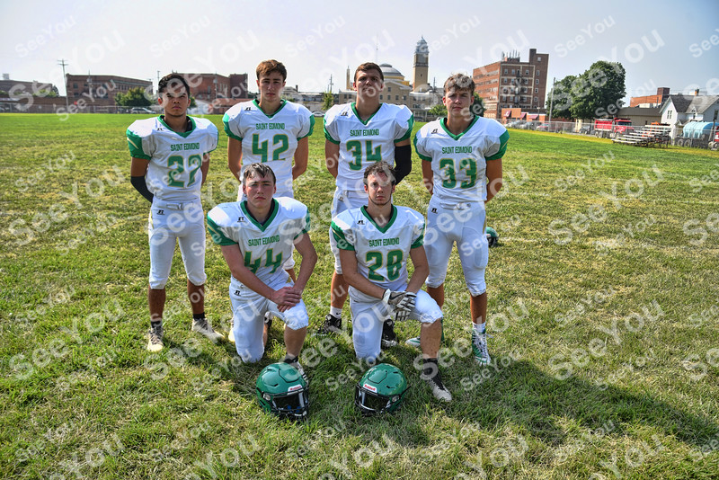 -Messenger photo by Britt Kudla<br /> St. Edmond Running Backs are, left to right, Front Row: Tyler Rossmanith, Jake Kossow<br /> Back Row: Peyton Spangler, Jackson Bemrich, Sean Newell, Sean Flattery