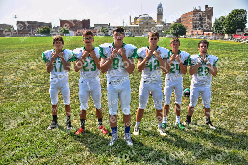 -Messenger photo by Britt Kudla<br /> St. Edmond Wide Receivers are, left to right, Thornton Aljets, Jonah Hindt, Ethan Lursen, Jackson Bemrich, Kase Baker, Jake Kossow