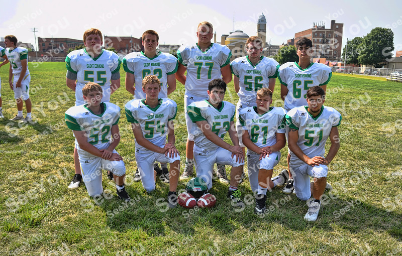 -Messenger photo by Britt Kudla<br /> St. Edmond Defensive Line are, left to right, Front Row: Andrew Elbert, Peyton Scott, Grant Webster, Zach Lawler, Mason O'Brian<br /> Back Row: Brenden Loreth, Bryce Andersen, Nick Lawler, Nick Bennett, Nathan Russell