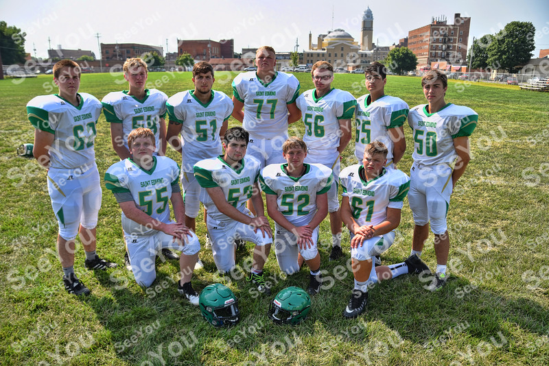 -Messenger photo by Britt Kudla<br /> St. Edmond Offensive Line are, left to right, Front Row: Brenden Loreth, Grant Webster, Andrew Elbert, Zach Lawler<br /> Back Row: Bryce Anderson, Peyton Scott, Mason O'Brian, Nick Lawler, Nick Bennett, Nathan Russell, Grant Bemrich