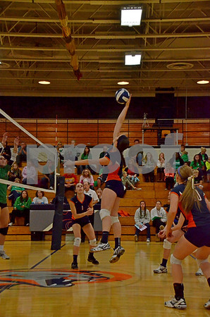 -Messenger photo by Britt Kudla<br /> Alexis Caquelin of Manson Northwest webster spikes the ball during Tuesday night Regional game against St. Edmond