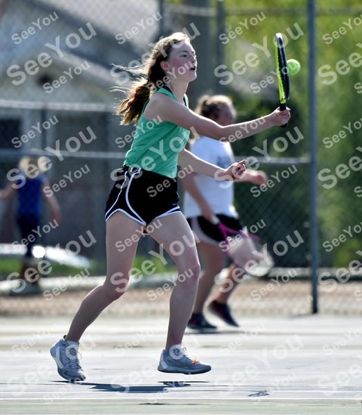 -Messenger photo by Britt Kudla<br /> Jillian Cosgrove of St. Edmond compete against Webster City McKenna Dinsdale on Monday at Butler Courts