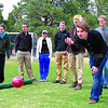St. John's freshman Ferhat Rodoplu,20, tosses the Bocce ball during<br /> the inaugural Bocce match between St. John's College and a team of Cadets from the US Air Force Academy in Colorado Springs Saturday, April 14th at St. John's.  St. John's won 15-5.<br /> <br /> Photos by Jane Phillips/The New Mexican