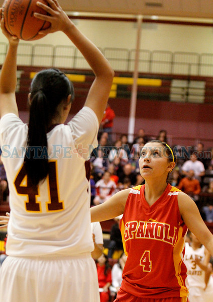Española Sundevils vs Santa Fe Indian School Lady Braves at the Pueblo Pavilion Wellness Center on Saturday, December 1, 2012.  Indian School was up 56-35 with 2 1/2 minutes left.  Jane Phillips/the New Mexican