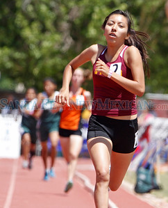 Summer Villegas places second in the 1600 final during State Track and Field Championships at UNM track in Albuquerque, N.M. on May 11, 2012. Photos by Natalie Guillén/The New Mexican