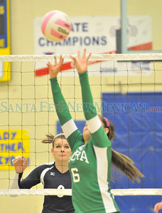District 2AA volleyball playoff match between Santa Fe Prep-Mora played at Penasco High School Monday, November 5, 2012. Clyde Mueller/The New Mexican