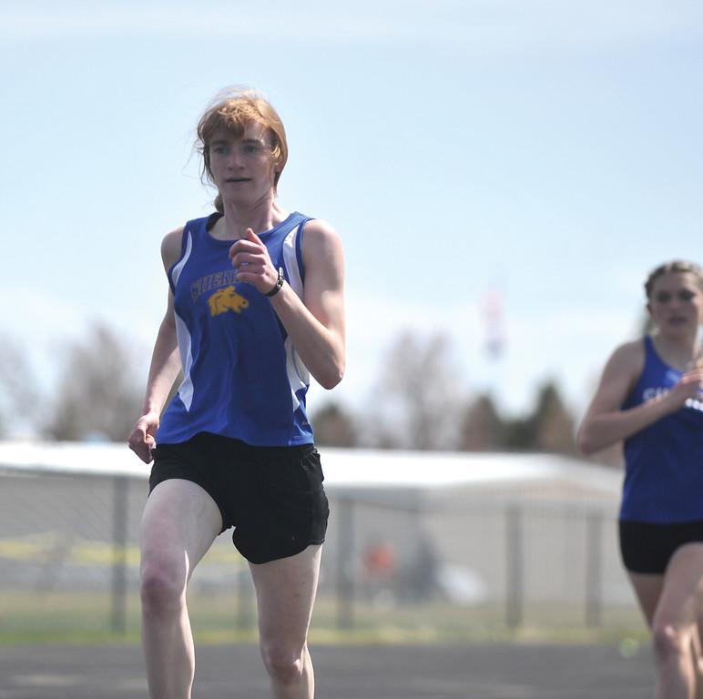 Bud Denega | The Sheridan Press<br /> Trinity Preston won the 1,600-meter race during the Gary Benson Invitational Monday.