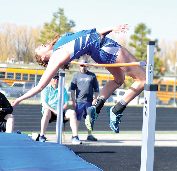 Bud Denega | The Sheridan Press<br /> Kylie Sorenson took runner-up in the high jump during the Gary Benson Invitational Monday.