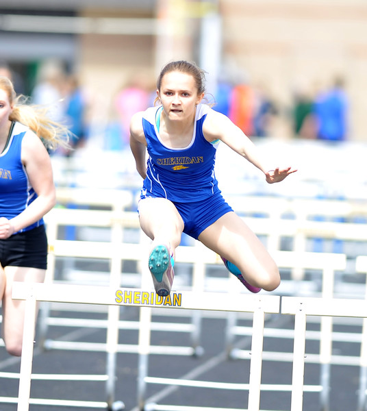 Bud Denega | The Sheridan Press<br /> Rachel Petersburg placed third in the 100-meter hurdles during the Gary Benson Invitational Monday.