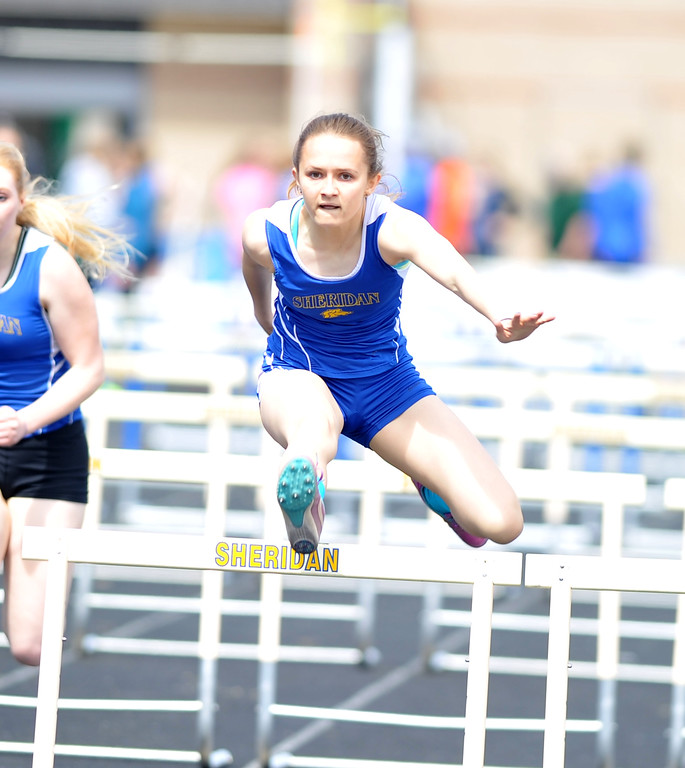 Bud Denega | The Sheridan Press<br /> Rachel Petersburg placed third in the 100-meter hurdles during the Gary Benson Invitational Monday.