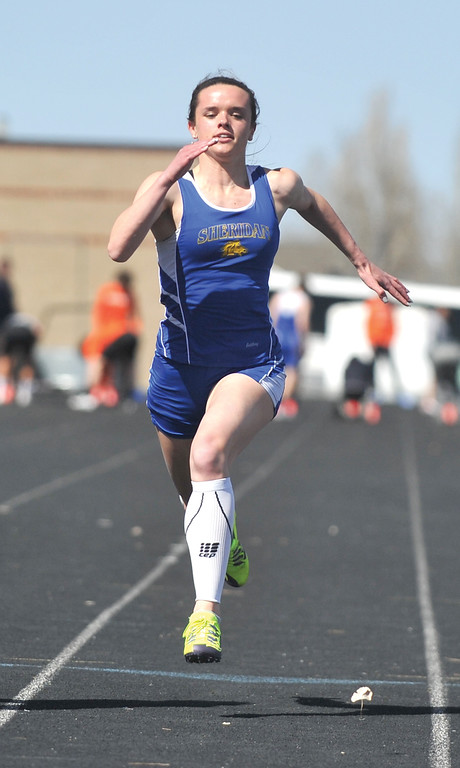 Bud Denega | The Sheridan Press<br /> Kelly Moodry won two of her three events at the Gary Benson Invitational Monday. She easily won the 800-meter run, anchored the victorious 1,600-meter relay and took runner-up in the 100-meter dash.