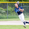 Record-Eagle/Brett A. Sommers <br /> <br /> Gaylord St. Mary shortstop Adam Nowicki loses his hat as he fires a throw to first base during Tuesday's Division IV baseball quarterfinal against Norway at St. Elizabeth Ann Seton Middle School in Traverse City. The Snowbirds won 6-2.