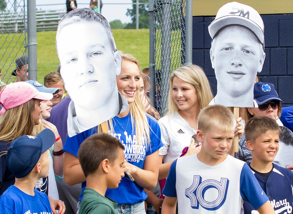 Record-Eagle/Brett A. Sommers <br /> <br /> Gaylord St. Mary fans await the team following Tuesday's Division IV baseball quarterfinal win against Norway at St. Elizabeth Ann Seton Middle School in Traverse City. The Snowbirds won 6-2.