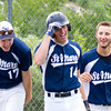 Record-Eagle/Brett A. Sommers <br /> <br /> Gaylord St. Mary's Matt Samalik (17) and John Paul Zielinski (16) celebrate with Josh Nowicki (14) after he hit a home run during Tuesday's Division IV baseball quarterfinal against Norway at St. Elizabeth Ann Seton Middle School in Traverse City. The Snowbirds won 6-2.