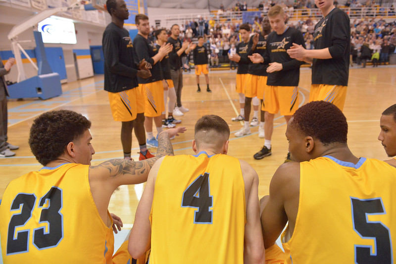 Justin Sheely | The Sheridan Press<br /> <br /> Starters are introduced during the Sheridan men's rivalry game against Gillette College at the Bruce Hoffman Golden Dome Saturday, Feb. 17, 2018. The Generals beat the Pronghorns 85-70.