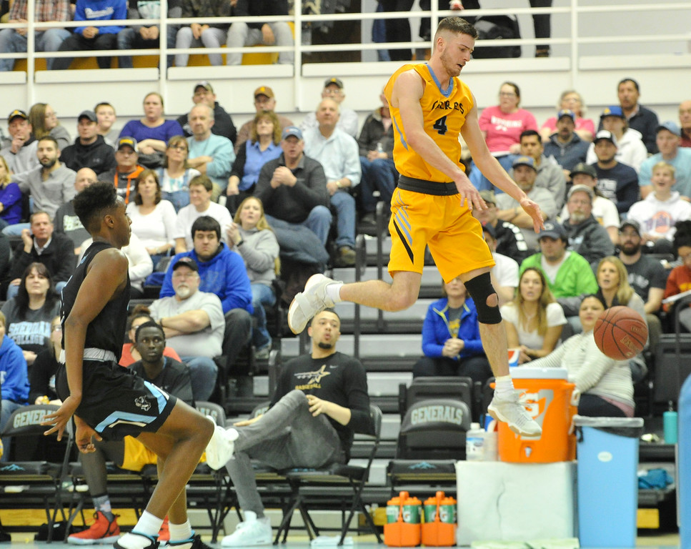 Justin Sheely | The Sheridan Press<br /> <br /> A passed is overthrown to Ladan Ricketts against Gillette College at the Bruce Hoffman Golden Dome Saturday, Feb. 17, 2018. The Generals beat the Pronghorns 85-70.