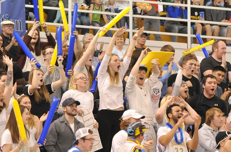 Justin Sheely | The Sheridan Press<br /> <br /> Students cheer at the Bruce Hoffman Golden Dome Saturday, Feb. 17, 2018. The Generals beat the Pronghorns 85-70.