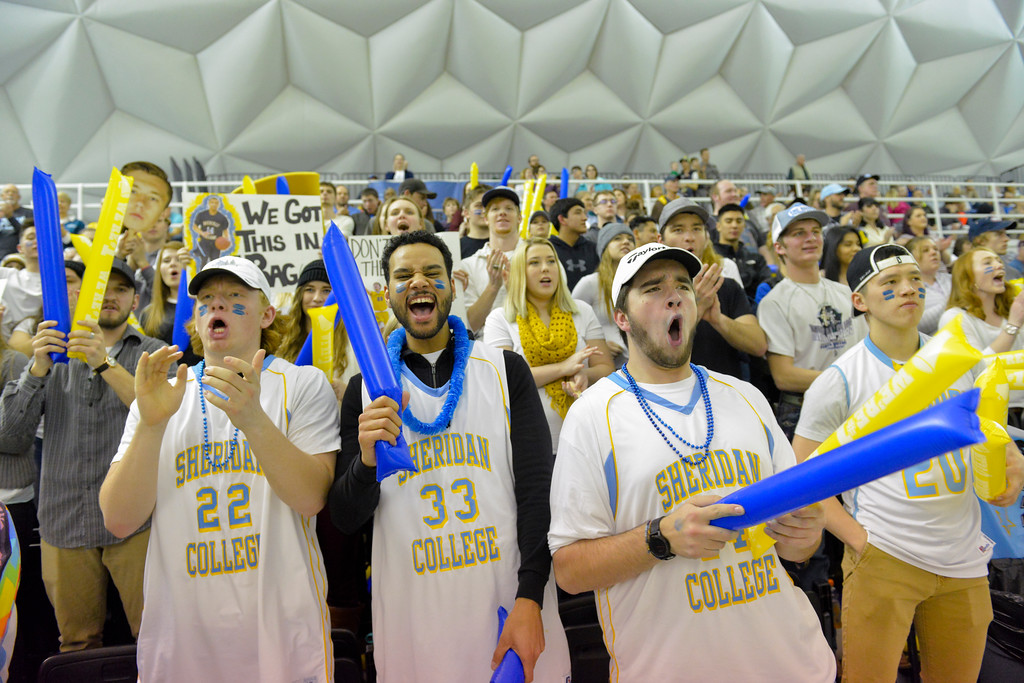Justin Sheely | The Sheridan Press<br /> <br /> Students cheer during the Sheridan men's rivalry game against Gillette College at the Bruce Hoffman Golden Dome Saturday, Feb. 17, 2018. The Generals beat the Pronghorns 85-70.