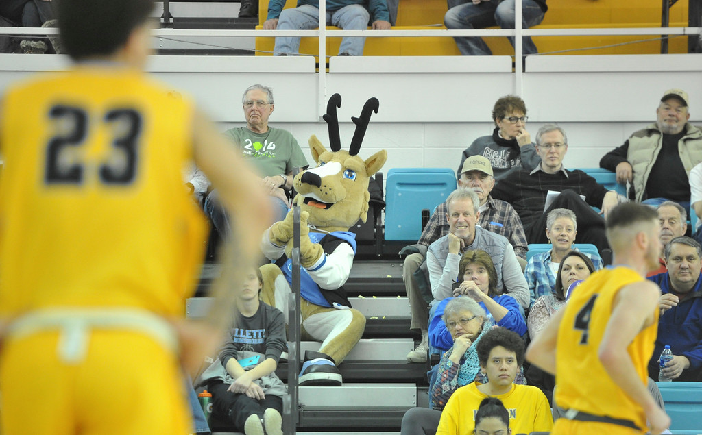Justin Sheely | The Sheridan Press<br /> <br /> The Pronghorns mascot haunts the bleachers at the Bruce Hoffman Golden Dome Saturday, Feb. 17, 2018. The Generals beat the Pronghorns 85-70.