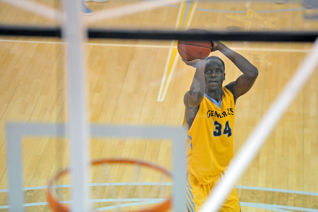 Mike Pruden | The Sheridan Press<br /> Kon Anquik lines up a free throw during Sheridan College's 76-71 victory over Western Wyoming at the Bruce Hoffman Golden Dome Wednesday, Feb. 7, 2018.