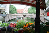 View of the river at a market on one of the many bridges that spans the Pegnitz rives in Nuremberg