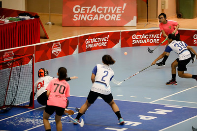 Players in action during Getactive floorball at One Tampines Hub at Tampines, Singapore on 27th July 2018. Photo by Sanketa Anand/Sport Singapore