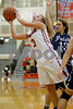 Plainfield  High School player Delaney Kendall  (3) goes up for the shot off the inbounds steal and is fouled during the game between Cathedral vs Plainfield at  Plainfield  High School in Plainfield,IN. (Jeff Brown/Flyer Photo)