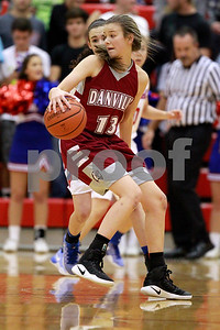Danville  High School small guard Ella Collier  (13) with the spin move during the game between Danville vs Plainfield at  Plainfield High School in Plainfield,IN. (Jeff Brown/Flyer Photo)