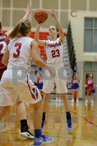 Plainfield  High School player Sarah O'Day  (23) fires up the jump shot during the game between Danville vs Plainfield at  Plainfield High School in Plainfield,IN. (Jeff Brown/Flyer Photo)