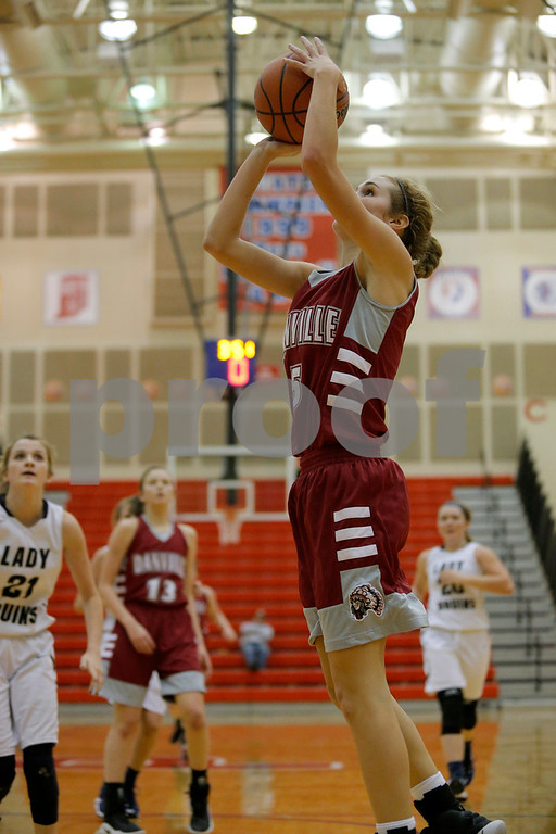 Danville  High School point guard Jenna Cowart  (5) drives to the basket for two during the opening round of play in the Hendricks County Basketball Tournament between Cascade vs Plainfield at Plainfield  High School in Plainfield,IN. (Jeff Brown/Flyer Photo)