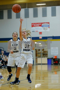 Tri-West  High School forward Carli Wilson  (30) throw up the shot and it just rims out during the game between Greencastle vs Tri-West  at  Tri-West High School in Lizton,IN. (Jeff Brown/Flyer Photo)